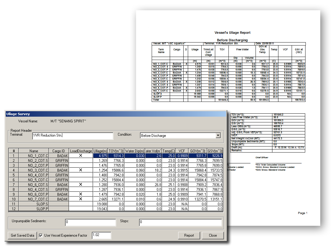 Ullage survey dialog and report in Autoload