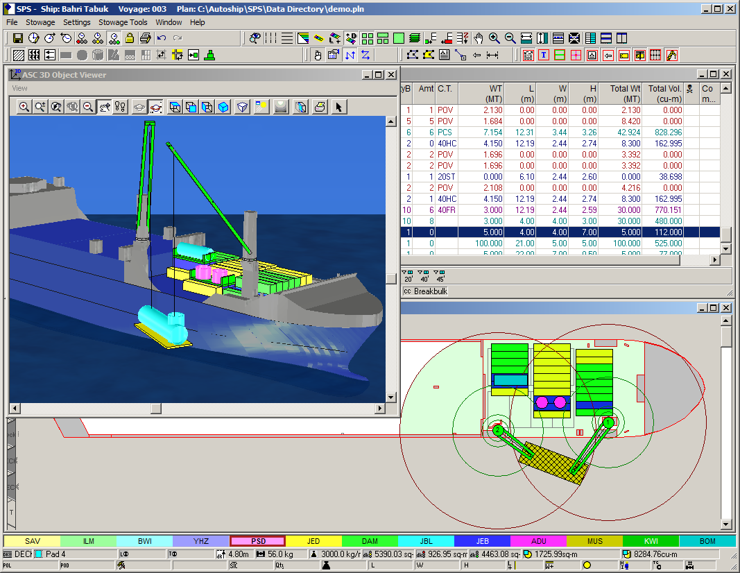 Screen capture of SPS with Bahri ship model