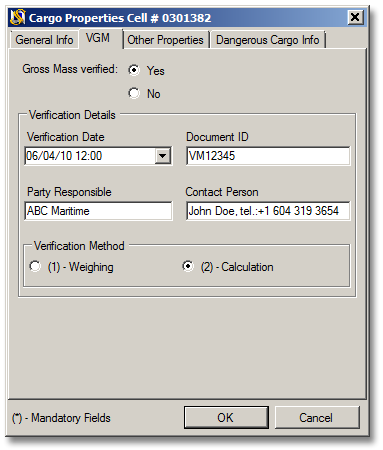 VGM Verified Gross Mass tab in SimpleStow