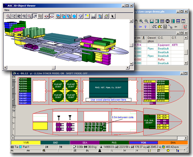 Main screen of SPS for general and break bulk cargo