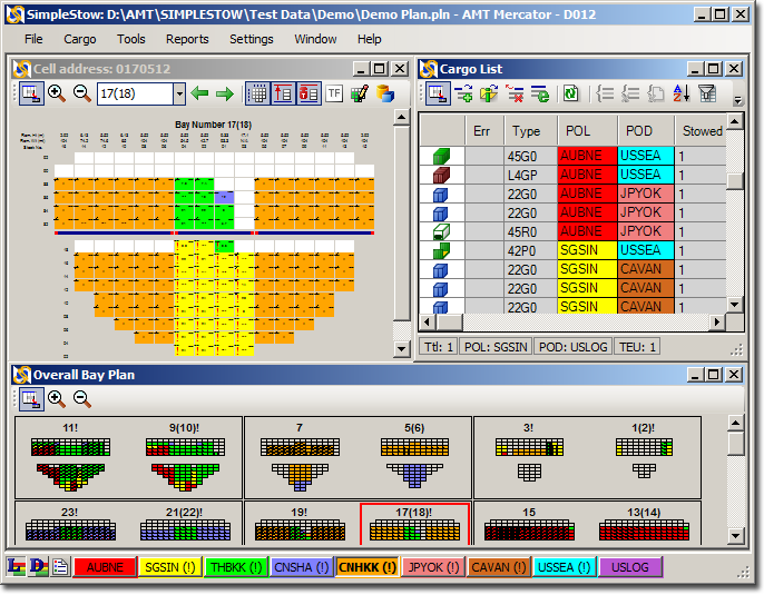 Container stowage planning program user interface main screen