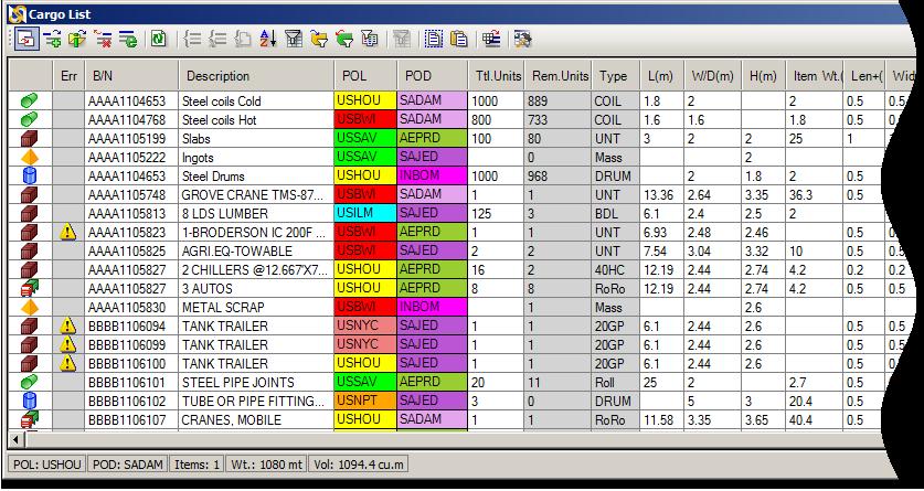 Image of Cargo List window in SimpleStow GC