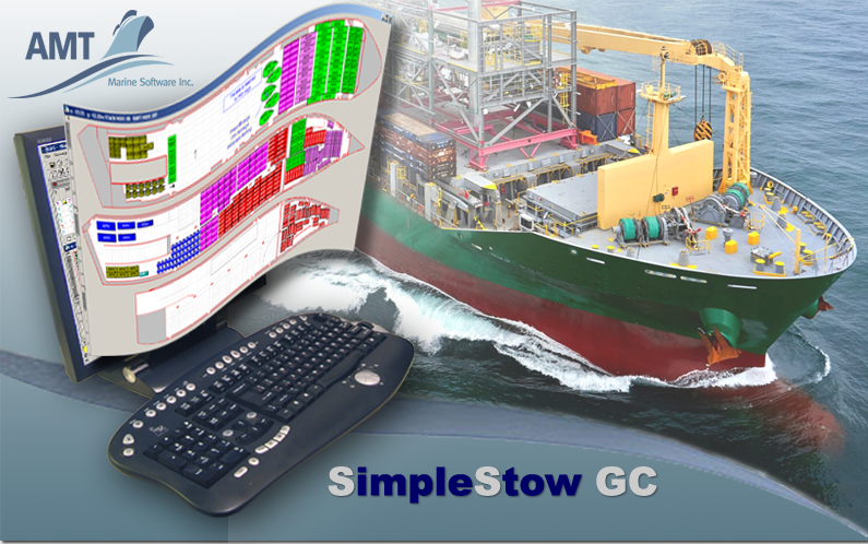 Image of computer on the general cargo ship background