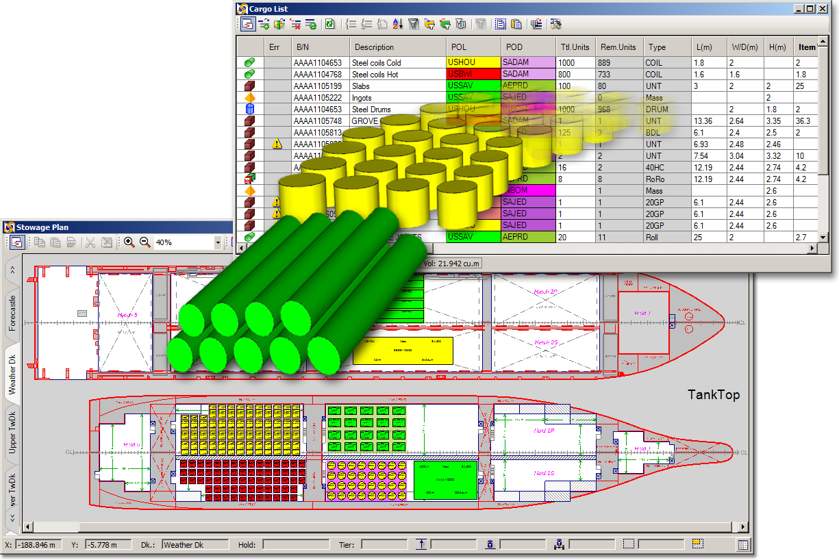 Image of cargo moving from Cargo List in to the plan in SimpleStow GC